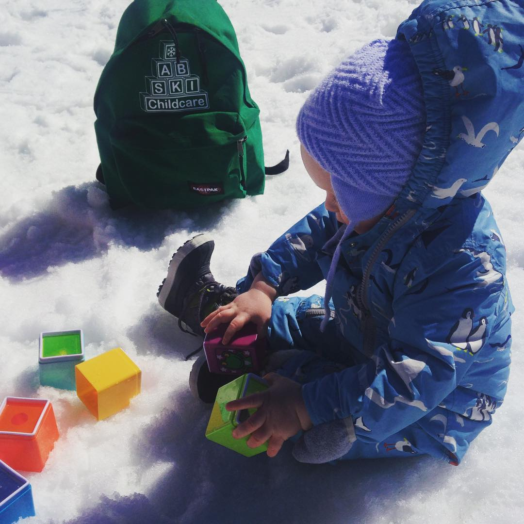 One of our little guests playing in the snow withhellip