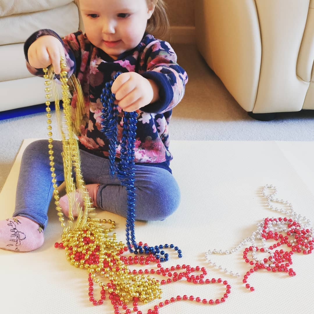 Strings of beads were a real hit with this littlehellip